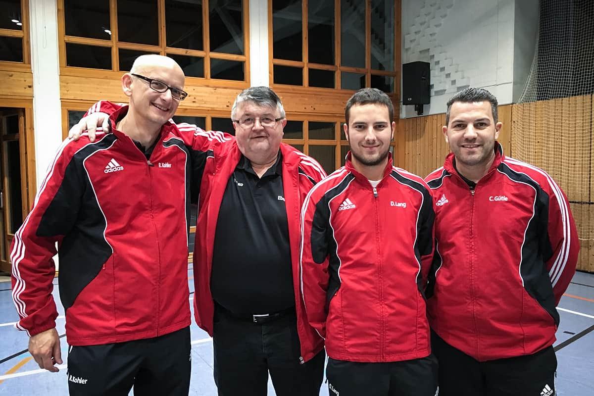 v.l.n.r. Ralf Kohler & Hermann Bruder (Doppel Sieger), Dominik Lang (B-Pokal Sieger), Christian Gütle (A-Pokal Sieger)